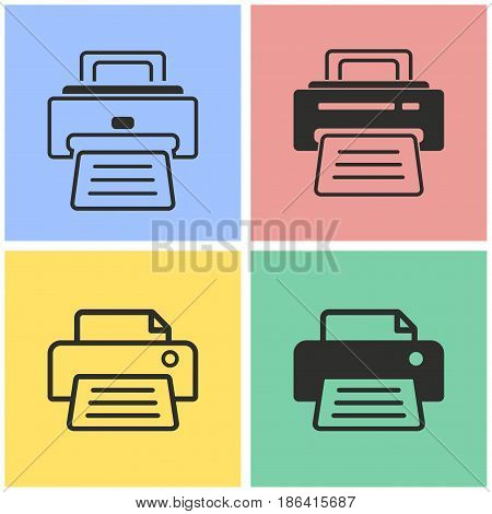 Printer vector icons set. Black illustration isolated for graphic and web design.