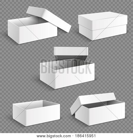 Blank white packaging paper box with transparent soft shadows isolated vector set. Container package collection, illustration of object cardboard box