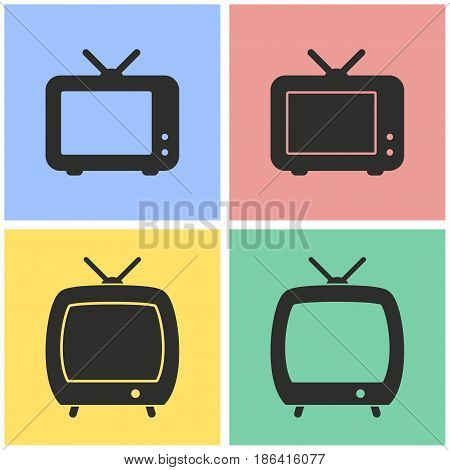 TV vector icons set. Black illustration isolated for graphic and web design.