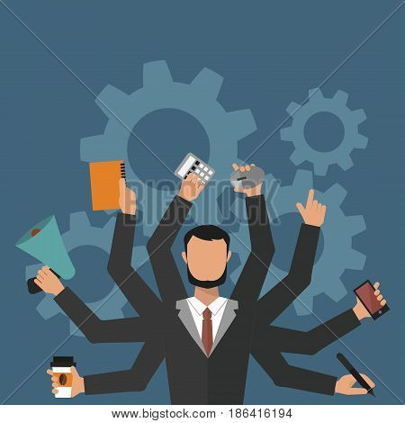 Office job stress work vector illustration professional business man day life flat style male. Business situation hard job corporate labor credit people in action consultant