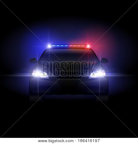 Sheriff police car at night with flashing light vector illustration. Police car with siren night, security and protection traffic patrol