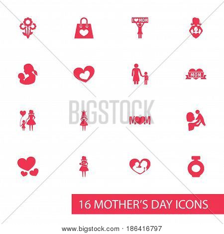 Mothers Day Icon Design Concept. Set Of 16 Such Elements As Fragrance, Baby And Mother. Beautiful Symbols For Queen, Infant And Mother.