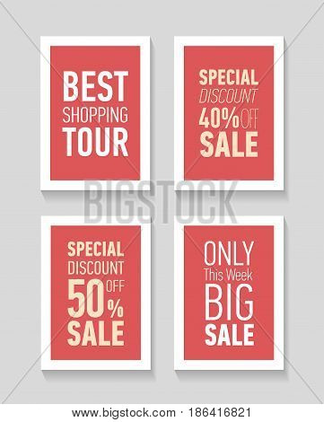 Flat modern sale posters. Flat modern sale posters. Best shopping tour. Special discount 50 off sale. Only this week big sale. Discount card design.