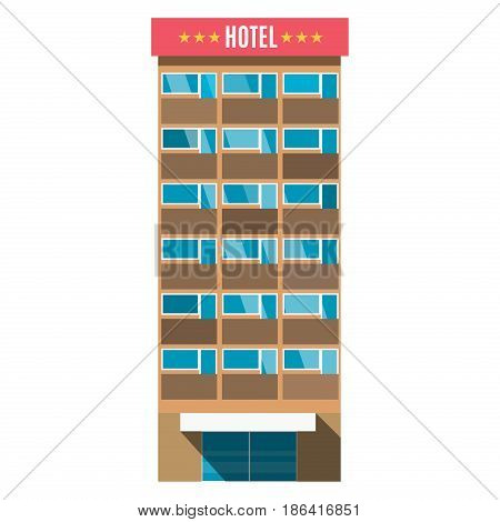 Hotel room service resort business vacation apartment architecture vector illustration. Accommodation symbol reception residence house facade modern perspective.