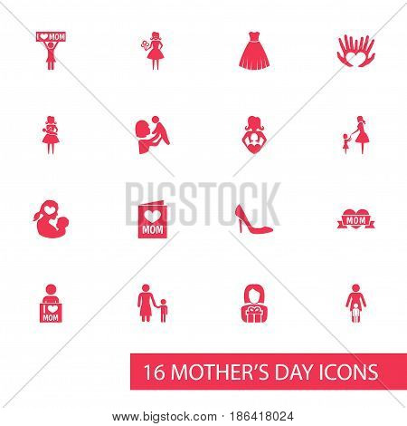 Mothers Day Icon Design Concept. Set Of 16 Such Elements As Invitation, Evening Gown And Loving. Beautiful Symbols For Flower, Care And Person.