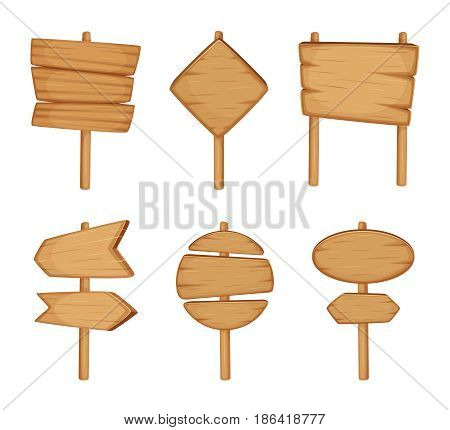 Wooden direction sign isolated on white background. Cartoon vector illustration set. Wooden billboard and signboard, signpost arrow wooden