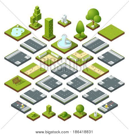 Vector set of isometric city elements, crossroads, road, garden decoration. Benches, fountain trees and bushes. Construction road and elements bench and flora, illustration of corner road