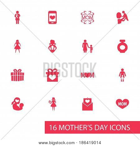 Mothers Day Icon Design Concept. Set Of 16 Such Elements As Female, Design And Text. Beautiful Symbols For Woman, Heart And Mam.