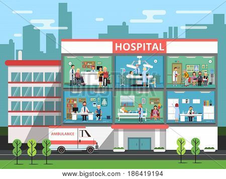 Hospital rooms with medical personnels, doctors and patients. Clinic building vector illustrations. Interior of clinical or hospital, medical reception office department clinic