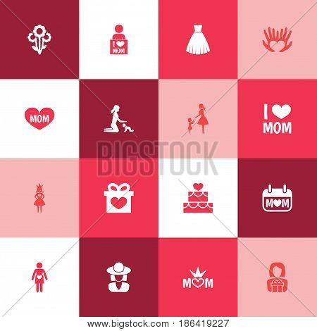 Mothers Day Icon Design Concept. Set Of 16 Such Elements As Playing, Emotion And Present. Beautiful Symbols For Playing, Gift And Text.