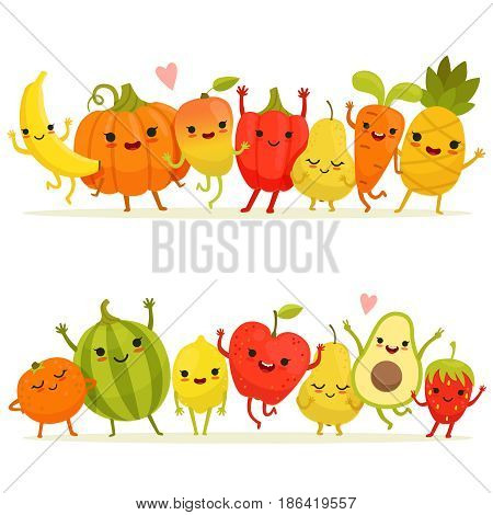 Cartoon fruits and vegetables in group. Vector happy mascots with smiling faces. Happy fruit and vegetable, illustration of cartoon character natural fruits