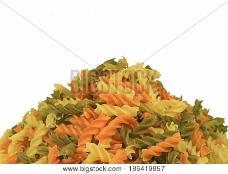 Pile of Uncooked Three-color Fusilli Pasta on White Background, Front View Photo with Free Space for Text or Design
