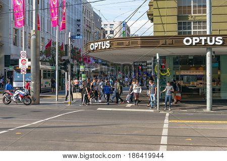 People Waiting For Traffic Lights On Corner Elizabeth And Bourke Street