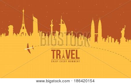Collection stock of travel to the world vector art