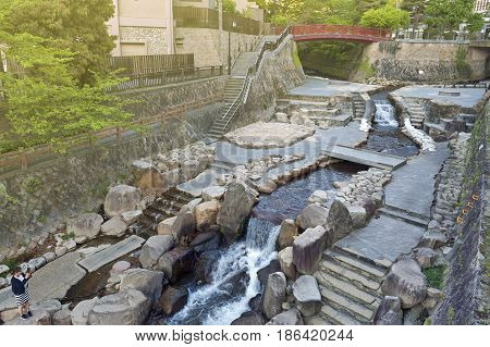 Kobe, Japan - March 2016: Hot Spring Stream Flowing Pass Town Centre Of Arima Onsen In Kita-ku, Kobe