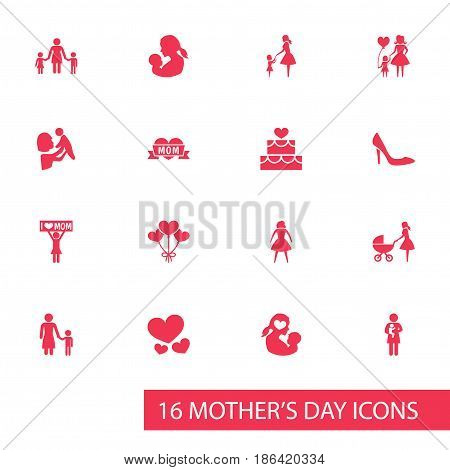 Mothers Day Icon Design Concept. Set Of 16 Such Elements As Missus, Newborn Baby And Placard. Beautiful Symbols For Children, Pastry And Daughter.