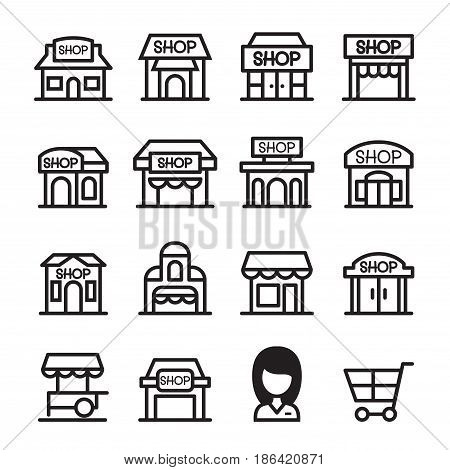 Shop building icon set set in thin line style