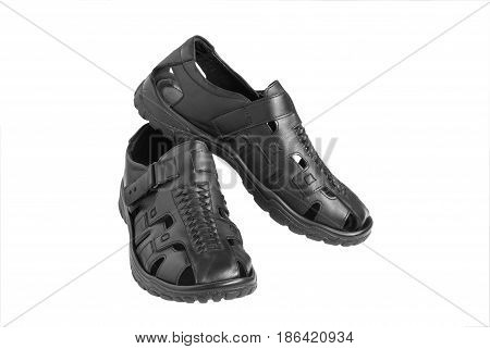 Just a simple open-toe black sandals for men isolated on white background.