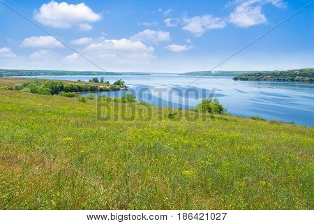 Landscape with big Ukrainian river Dnepr at summer season.
