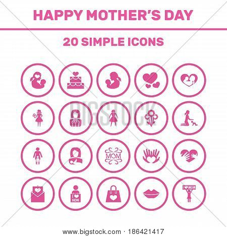 Mothers Day Icon Design Concept. Set Of 20 Such Elements As Palms, Flowers And Playing. Beautiful Symbols For Baby, Protect And Package.