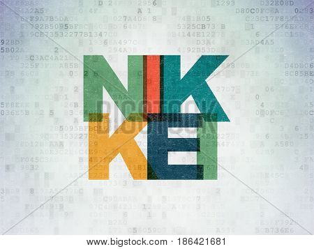 Stock market indexes concept: Painted multicolor text Nikkei on Digital Data Paper background
