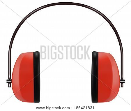 Realistic red noise isolating headphones or earmuffs. Vector 3D illustration