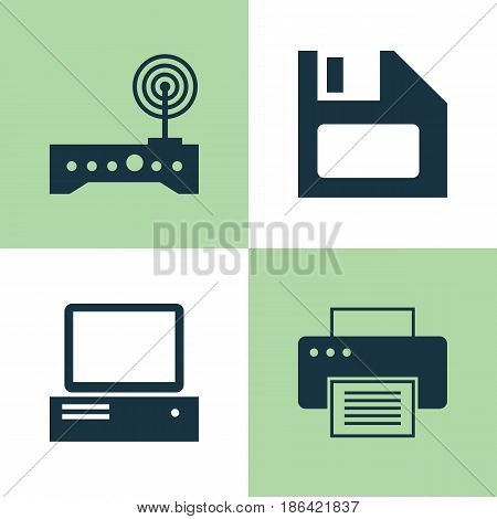 Computer Icons Set. Collection Of Diskette, Printing Machine, Monitor And Other Elements. Also Includes Symbols Such As Diskette, Printer, Wifi.