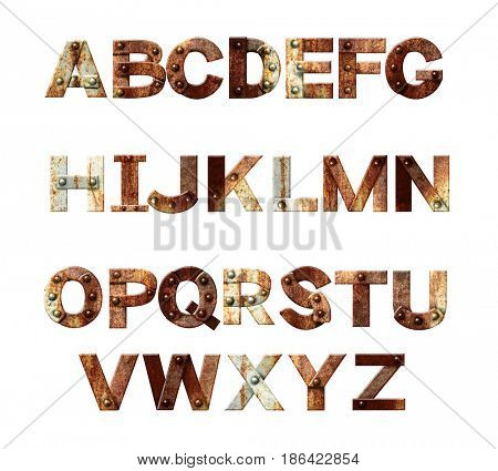 Alphabet - letters from rusty metal with rivets. Isolated on white background. 3d render