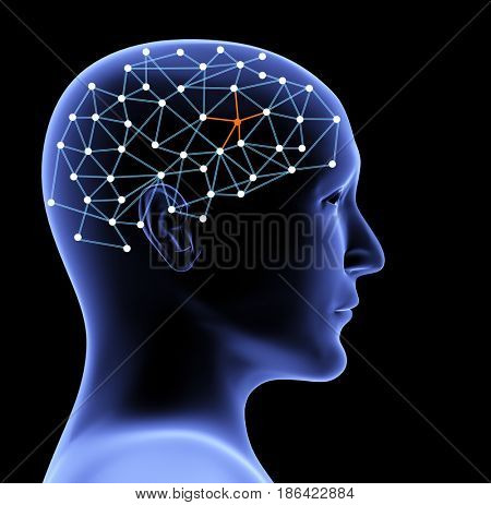 Transparent head of person and neural network of brain with a problematic area. Isolated on black background. 3d render