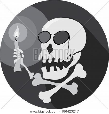 Skull in a pince-nez with a candle in his hand / long way in the dark