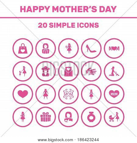 Mothers Day Icon Design Concept. Set Of 20 Such Elements As Lady, Hat And Letter. Beautiful Symbols For Queen, Daughter And Perfume.