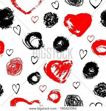 Vector seamless pattern with brush stripes and strokes. Black red color on white background. Hand painted grange texture. Ink geometric and heart elements. Fashion modern style. Endless fabric print