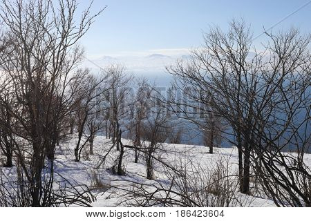 Blue Sevan lake, trees and beautiful snowy mountains at winter sunny day in Armenia