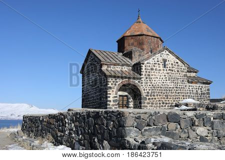 Surb Arakelots Church is ancient architectural monument of Armenia, 9th century, winter
