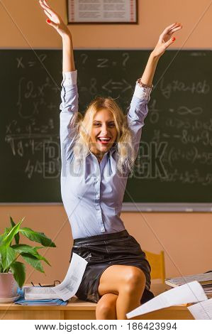 Young Pretty Teacher Screaming