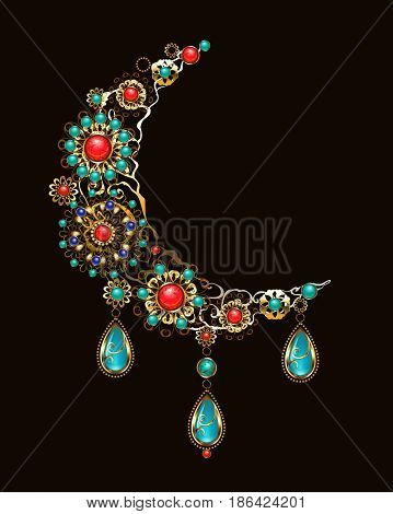 crescent moon decorated with jewelry, gold and bronze ornaments in ethnic style, with turquoise and jasper. Jewelery in boho style.