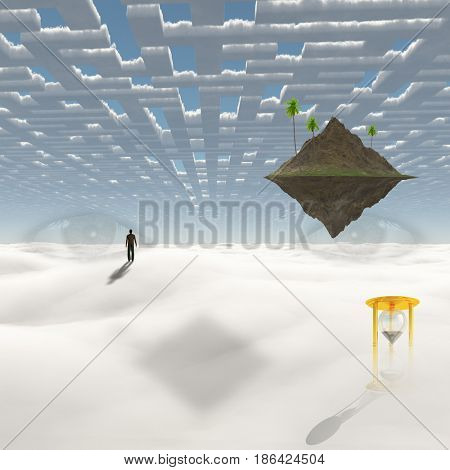 Man on the way to floating island   3D rendering