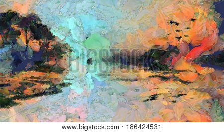 Colorful Water Island Landscape Painting   3D rendering
