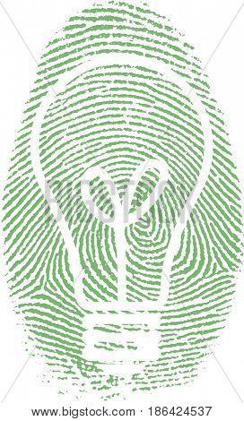 Fingerprint with bulb silhouette   3D rendering