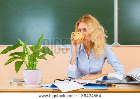 Young Pretty Teacher Resting