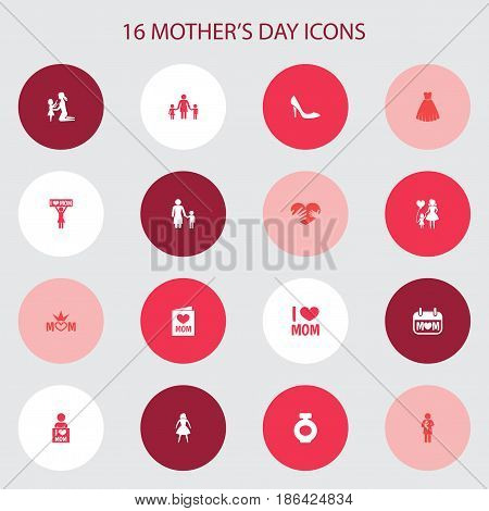 Mothers Day Icon Design Concept. Set Of 16 Such Elements As Stiletto, Madame And Newborn Baby. Beautiful Symbols For Son, Heeled And Newborn.