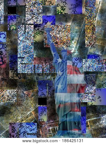 America NYC with Statue of Liberty   3D rendering