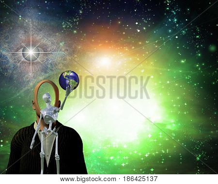 Alien bringing Earth in universe   3D rendering    Some elements provided courtesy of NASA