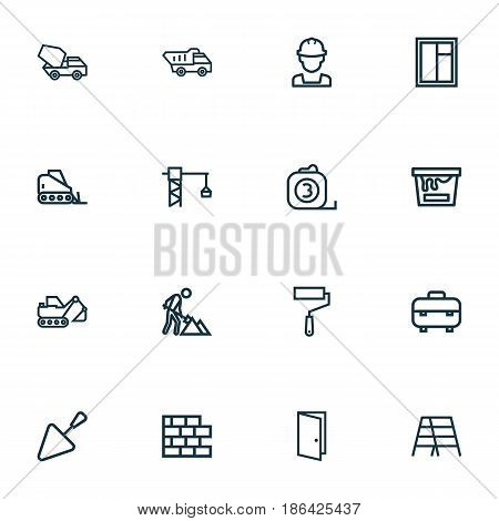 Industry Outline Icons Set. Collection Of Brickwork, Toolbox, Builder And Other Elements. Also Includes Symbols Such As Stepladder, Color, Entrance.