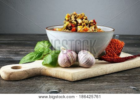 Lentil Curry Salad With Carrot, Cauliflower, Broccoli And Onion In A Bowl. Healthy Lifestyle. Diet M