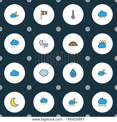 Climate Colorful Outline Icons Set. Collection Of Snowing, Flag, Windy And Other Elements. Also Includes Symbols Such As Wind, Sun, Raindrop.