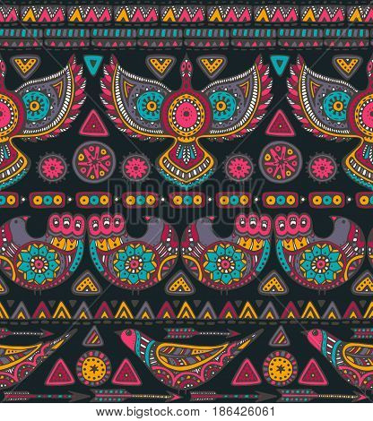Vector seamless pattern with colorful hand drawn ethnic elements. Tribal design with geometric forms and ornate birds. Folk motif for print, web, textile, wrapping paper