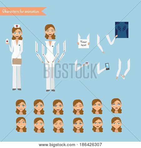 doctor at work. Vector illustration of cheerful doctor. Set for animation