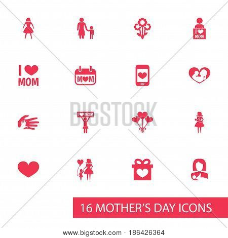 Mothers Day Icon Design Concept. Set Of 16 Such Elements As Infant, Placard And Cellphone. Beautiful Symbols For Bouquet, Love And Mother.