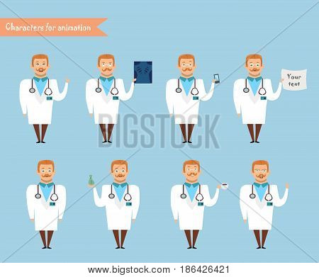 Smart doctor presenting in various action. character design. doctor and healthcare concept - vector illustration - stock vector